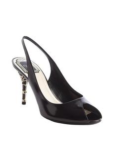 Christian Dior black leather 'Miss Cannage' peep toe slingbacks