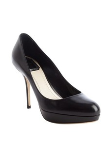 Christian Dior black leather platform pumps
