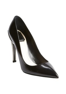 Christian Dior black leather point toe silver detail pumps