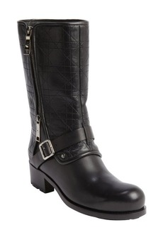 Christian Dior black leather side zip cannage detail boots