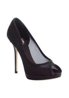 Christian Dior black mesh peep toe pumps