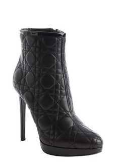Christian Dior black quilted leather ankle boots