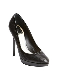 Christian Dior black quilted leather patent trim pumps