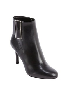 Christian Dior black smooth and cannage leather bucklestrap heel booties
