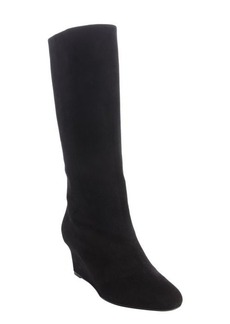 Christian Dior black suede wedge heel boots