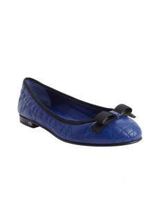 Christian Dior blue grosgrain bow detail quilted leather ballet flats