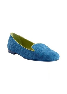 Christian Dior blue lagoon and green quilted suede loafers