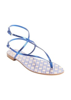 Christian Dior blue leather bucklestrap sandals