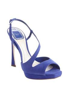 Christian Dior blue suede strappy detail platform peep toe sandals