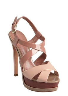 Christian Dior blush and rose patent leather peep toe platform sandals