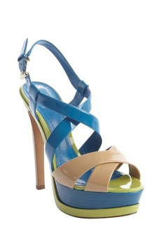 Christian Dior bright blue and neon green patent leather peep toe platform sandals