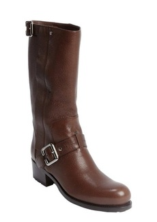 Christian Dior brown leather bucklestrap detail boots