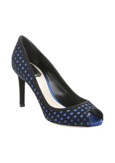 Christian Dior cobalt and black suede cannage peep toe pumps