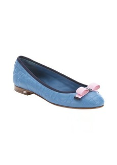 Christian Dior cobalt and pink quilted leather 'My Dior' ballet flats