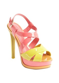 Christian Dior coral and yellow patent leather platform sandals