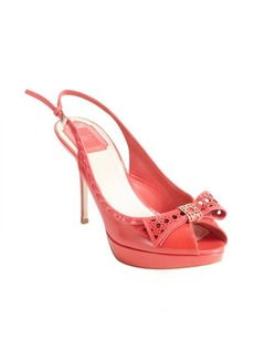 Christian Dior coral leather perforated bow tie detail slingback peep toe pumps