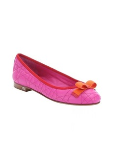 Christian Dior fuchsia and orange quilted leather 'My Dior' ballet flats