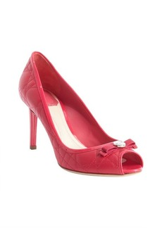 Christian Dior fuchsia cannage leather peep toe pumps