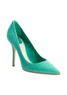 Christian Dior green suede pointed toe pumps