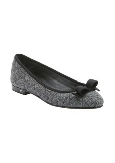 Christian Dior grey cannage wool 'My Dior' bow detail ballerina flats