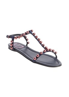 Christian Dior navy and rose fabric bead studded t-strap sandals
