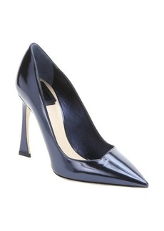 Christian Dior navy blue leather pointed toe pumps