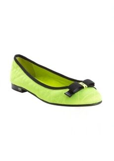 Christian Dior neon green quilted canvas ballet flats