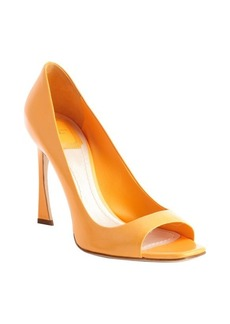 Christian Dior neon orange open toe pumps