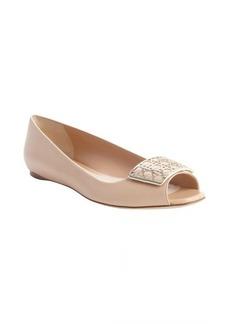 Christian Dior nude leather cannage emblem peep toe flats
