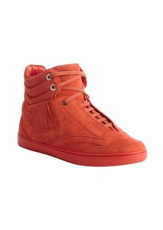 Christian Dior orange suede lace up seam detail cushioned ankle sneakers