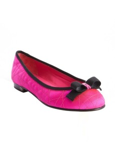 Christian Dior pink quilted leather bow detail ballet flats