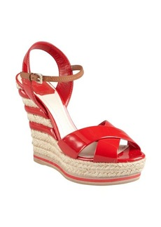 Christian Dior red patent leather and striped jute espadrille sandals