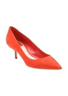 Christian Dior red suede 'Cherie' kitten heel pumps