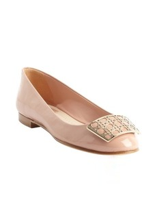 Christian Dior rose patent leather cannace detail flats
