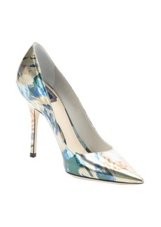 Christian Dior silver floral print leather 'Cherie' stiletto pumps