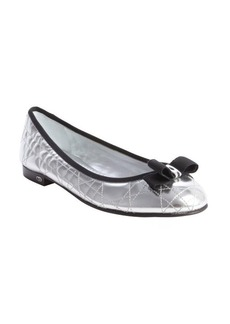 Christian Dior silver quilted leather bow detail ballet flats