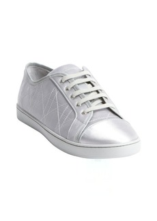 Christian Dior silver quilted leather 'Cannage' sport sneakers