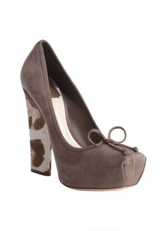 Christian Dior stone grey suede and animal print calf hair platforms
