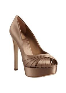 Christian Dior taupe satin 'Eclat' peep toe platform pumps
