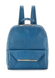 Christian Lacroix Aurora Snake-Embossed Backpack, Blue