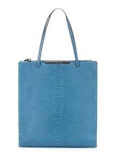 Christian Lacroix Aymeline Snake-Embossed Tote, Blue
