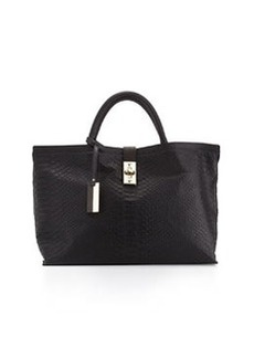 Christian Lacroix Candide Python-Embossed Tote, Black