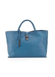 Christian Lacroix Candide Python-Embossed Tote, Blue