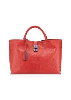 Christian Lacroix Candide Python-Embossed Tote, Red