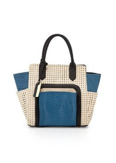 Christian Lacroix Invictus Perforated Satchel Bag, Blue/Dune/Black