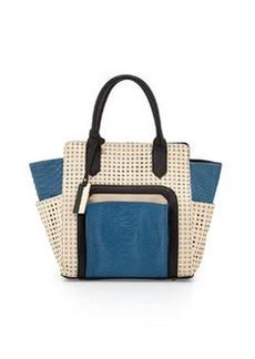 Christian Lacroix Invictus Perforated Satchel Bag, Blue/Dune/Black