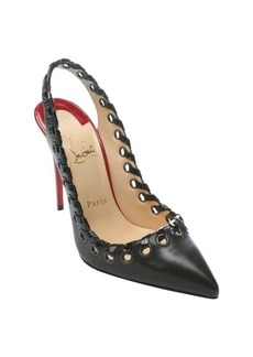 Christian Louboutin black and red leather 'Ostri String 100' whipstitch slingbacks