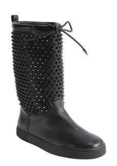 Christian Louboutin black calf leather studded detail drawstring 'Surlapony Flat' boots