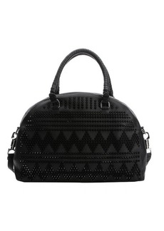 Christian Louboutin black leather chevron spiked 'Panettone' large convertible satchel
