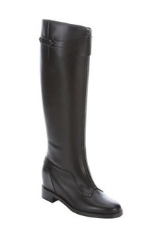 Christian Louboutin black leather 'Foresta Flat' knee-high boots